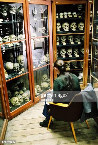 Studentin in der Schädelsammlung der Pathologie der Freien Universität Berlin 2003