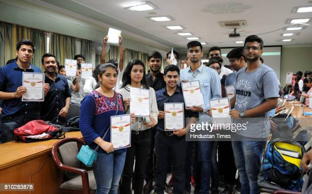 Students after receiving the certificate by Gurgaon Police Chief Sandeep Khirwar during the closing ceremony of Gurgaon Police Cyber Security Summer...
