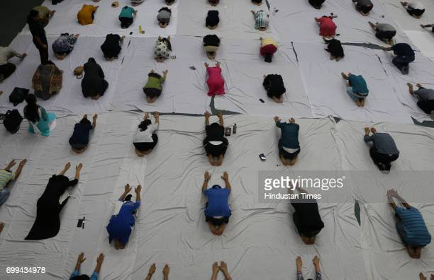 Students along with teachers and officials at Amity University participating in Yoga session on the International Yoga Day on June 21 2017 in Noida...