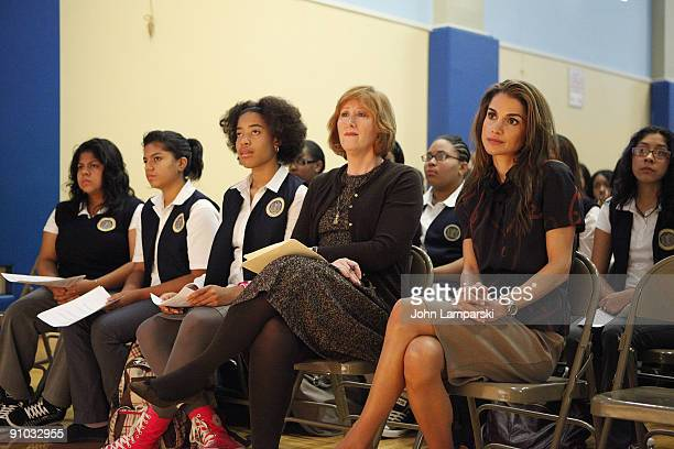 Students and Ann Tisch and Queen Rania of Jordan visit The Young Women's Leadership School East Harlem on September 21 2009 in New York City