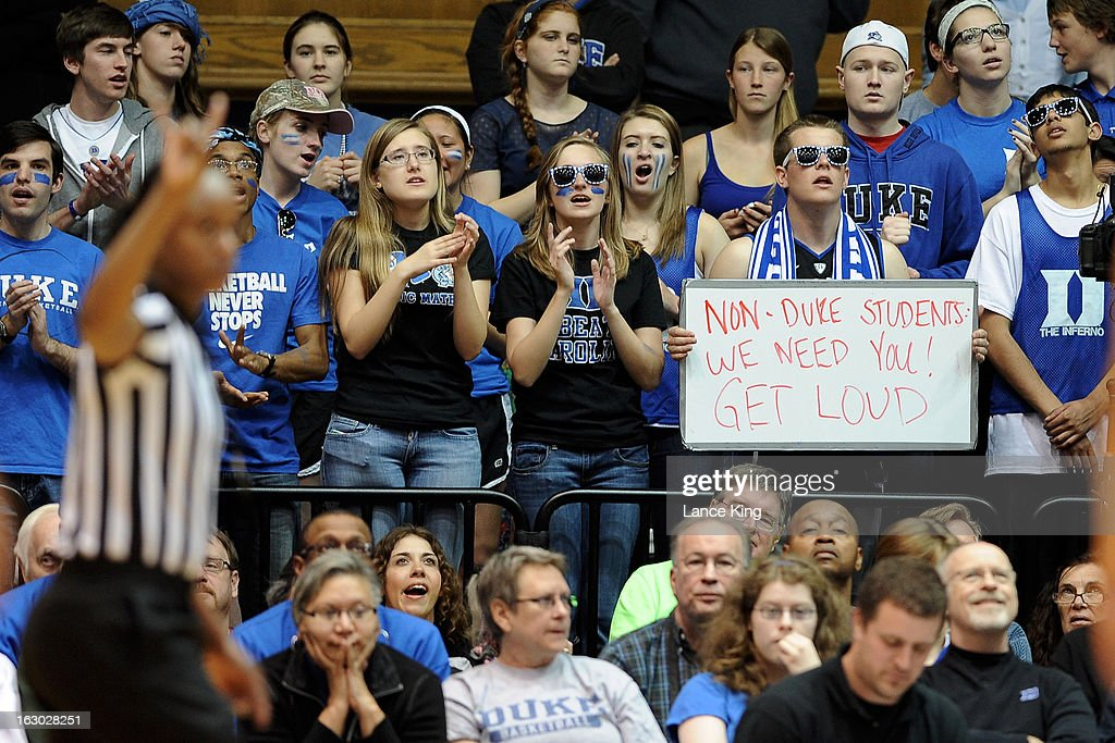 Students and fans of the Duke Blue Devils cheer on their team against the North Carolina Tar Heels at Cameron Indoor Stadium on March 3, 2013 in Durham, North Carolina. Duke defeated North Carolina 65-58.