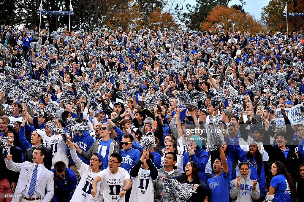 Students and fans of the Duke Blue Devils cheer on their team against the North Carolina State Wolfpack at Wallace Wade Stadium on November 9, 2013 in Durham, North Carolina.