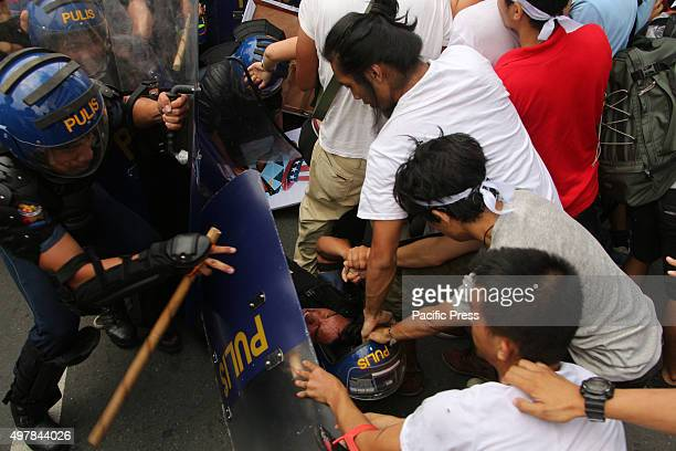 Students and labor group clash with the members of Philippine National Police crowd dispersal in Buendia Avenue Pasay City when the militant group...