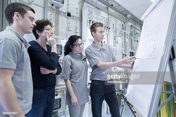 Students and teacher at electronics vocational school using flip chart