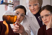 Students and teacher doing chemistry experiment