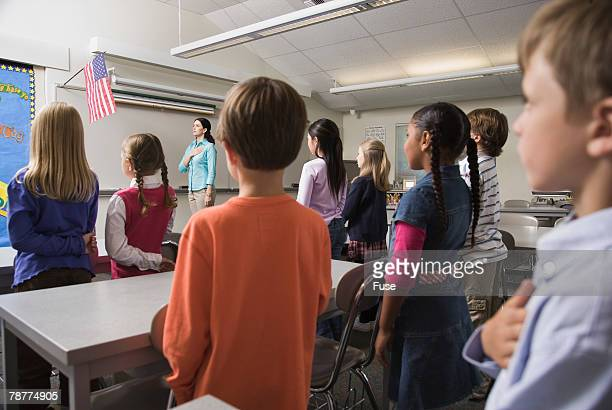 Students and Teacher Pledging Allegiance to the Flag