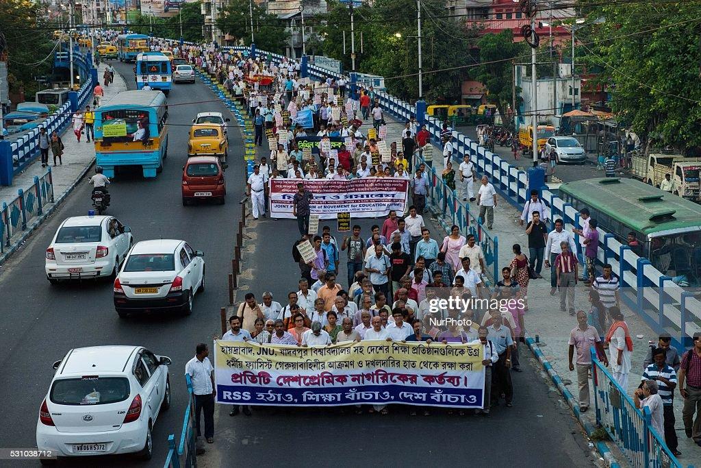 Students and teacher protest against RSS and Akhil Bharatiya Vidyarthi Parisad in Kolkata India on May 12 2016