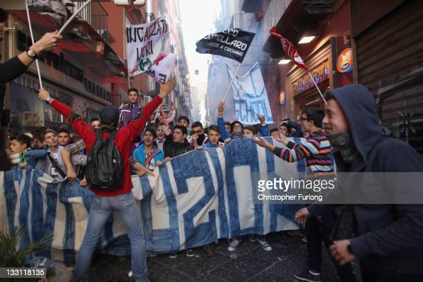 Students and the unemployed take part in a protest against austerity cuts and lack of jobs on November 17 2011 in Naples Italy Thousands of students...
