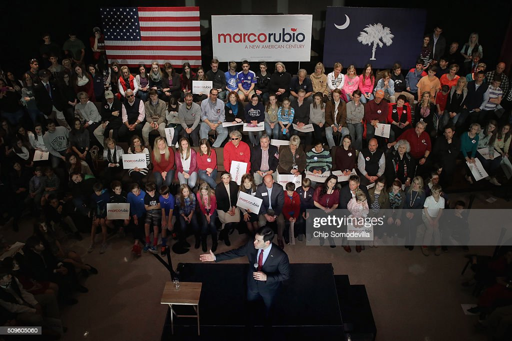 Students and their family members and guests listen to Republican presidential candidate Sen. <a gi-track='captionPersonalityLinkClicked' href=/galleries/search?phrase=Marco+Rubio+-+Pol%C3%ADtico&family=editorial&specificpeople=11395287 ng-click='$event.stopPropagation()'>Marco Rubio</a> (R-FL) during a campaign town hall meeting at the February 11, 2016 in Simpsonville, South Carolina. Earlier in the week Rubio placed fifth in the New Hampshire primary, behind fellow GOP candidates Jeb Bush, John Kasich, Sen. Ted Cruz (R-TX) and Donald Trump, who won with 35 percent of the vote.