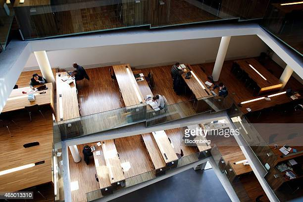 Students and visitors sit and work at tables in the library of the Lateran Pontifical University in Rome Italy on Tuesday Feb 17 2015 Pope Francis...