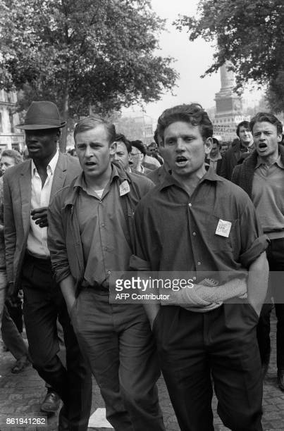 Students and workers hold a rally 29 May 1968 at the peak of the student movement during the demonstration organized by the French workers unions CGT...