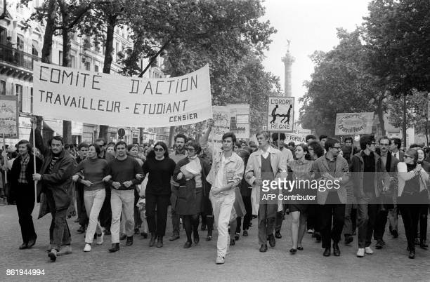 Students and workers hold a rally 29 May 1968 at the peak of the student movement during the unitarian demonstration organized by the French workers...