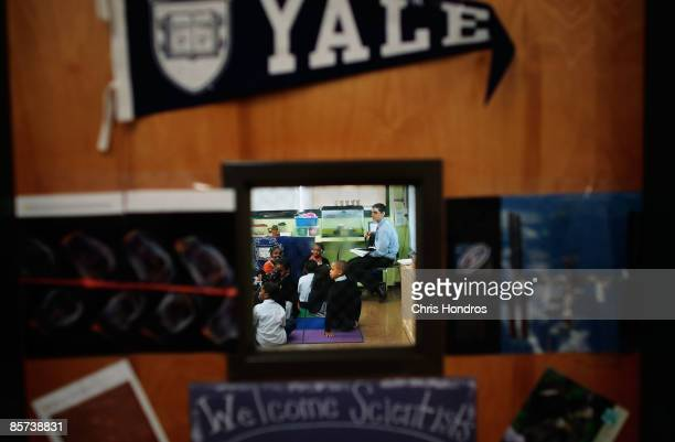 Students are seen through a classroom door window in class at Harlem Success Academy a free public elementary charter school March 30 2009 in the...