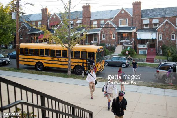 Students arrive for class at Washington Latin Public Charter School in Northwest Washington DC October 23 2015 The school has a mission of including...