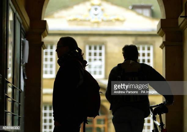 Students arrive for lectures at Trinity Hall Cambridge Univeristy Cambridge on the day higher education finance reforms announced students can expect...
