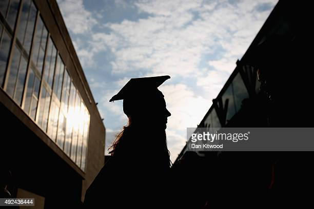 Students arrive for their graduation ceremony at the Royal Festival Hall on October 13 2015 in London England Students of the London South Bank...