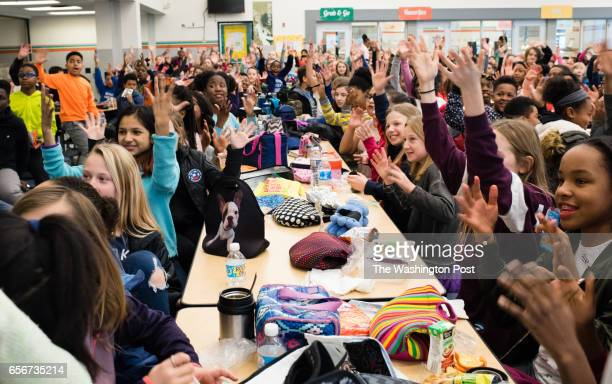 Students at Alice Deal Middle School in in NW Washington DC cheer on Wednesday February 1 2017 for Mayor Muriel Bowser and Antwan Wilson Chancellor...