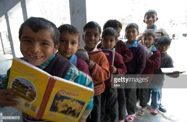 Students at Govt Sr Sec School of Bazida Zattan Village photographed on February 24 2010 in Karnal India