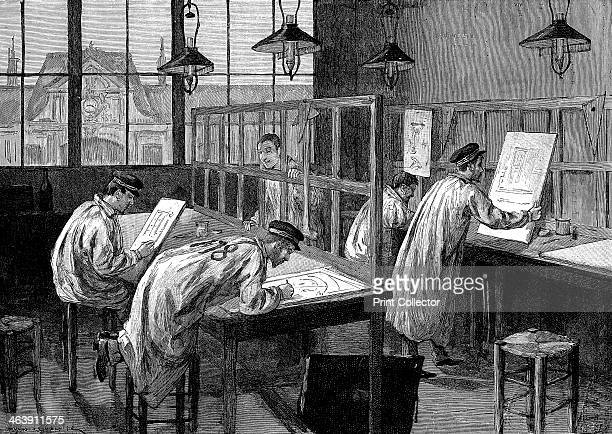 Students at l'Ecole Centrale des Arts et Manufactures Paris 1887 First year students working in their private study time