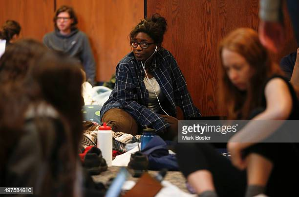 Students at Occidental College in Eagle Rock settle into their second day occupying the Walter G Coons Administrative Center in protest over the...