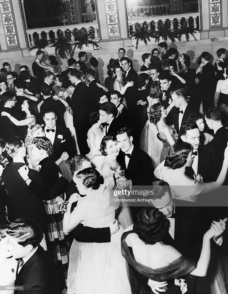 Students at the prom dance at Barnard College New York New York late 1940s or early 1950s