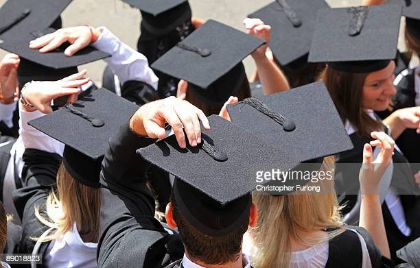 Students at the University of Birmingham take part in their degree congregations as they graduate on July 14 2009 in Birmingham England Over 5000...