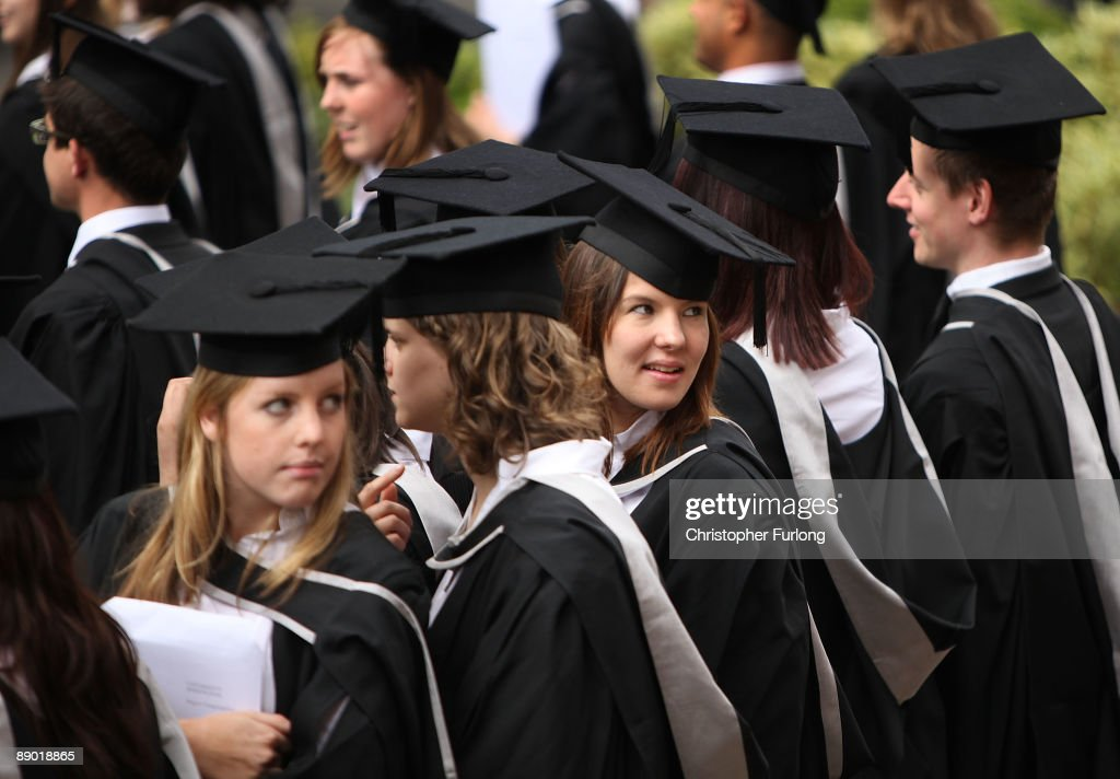 Students at the University of Birmingham take part in their degree congregations as they graduate on July 14, 2009 in Birmingham, England. Over 5000 graduates will be donning their robes this week to collect their degrees from The University of Birmingham. A recent survey suggested that there are 48 graduates competing for every job.