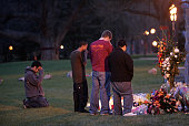 Students at Virginia Tech University view a memorial on the campus drill field erected to honor those who died on Monday after a gunman went on a...