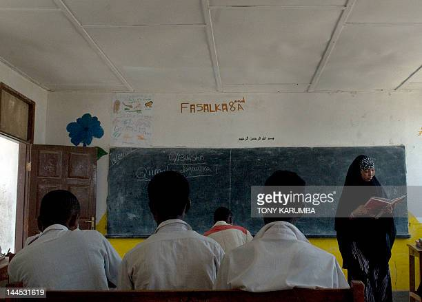 Students attend a class on April 18 2012 at a secondary school sponsored by the European Union in the Somaliland town of Sheikh Spared from the...