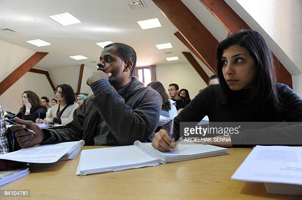 GUILBAUD Students attend a class on the Campus of al Akhawayn Ifrane University on January 29 2009 in Ifrane The private university inaugurated in...