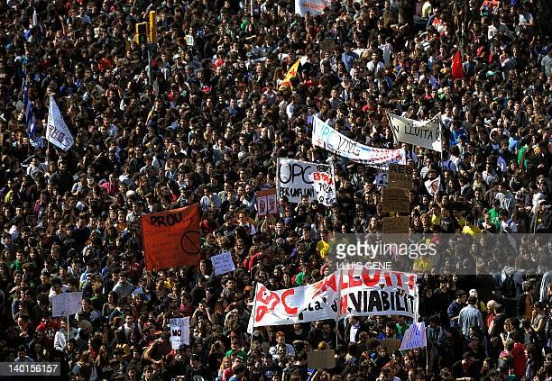 Students attend a demonstration against austerity measures in Education on February 29 2012 in Barcelona Students across Spain staged sitins and...