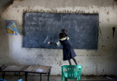 Students attend classes at the Ephatha Primary school July 18 2012 in Juba South Sudan South Sudan recently celebrated it's first anniversary of...