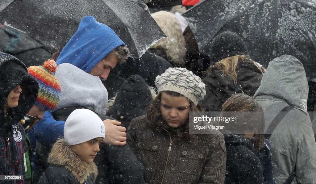 Students attend the commemoration ceremony in front of the Albertville School on March 11 2010 in Winnenden Germany Tim Kretschmer opened fire on...