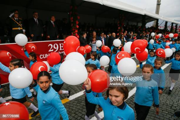 Students attend the march during the celebrations for the 94th Anniversary of Republic Day at the Izmir Cumhuriyet Square in Izmir Turkey on October...