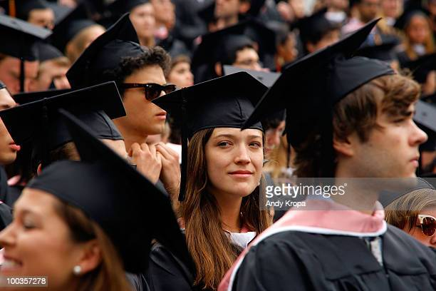 Students attend the Vassar College 2010 commencement at Vassar College on May 23 2010 in Poughkeepsie New York