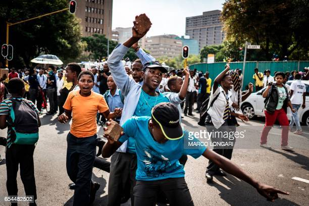 TOPSHOT Students belonging to the COSAS take part in a rally to deliver a memorandum on student infrastructures to Johannesburg mayor Herman Mashaba...