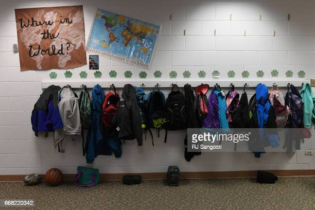 Students belongings hang in the hallway on April 13 2017 in Westcliffe Colorado Custer County School District is seeing a teacher shortage and a lack...