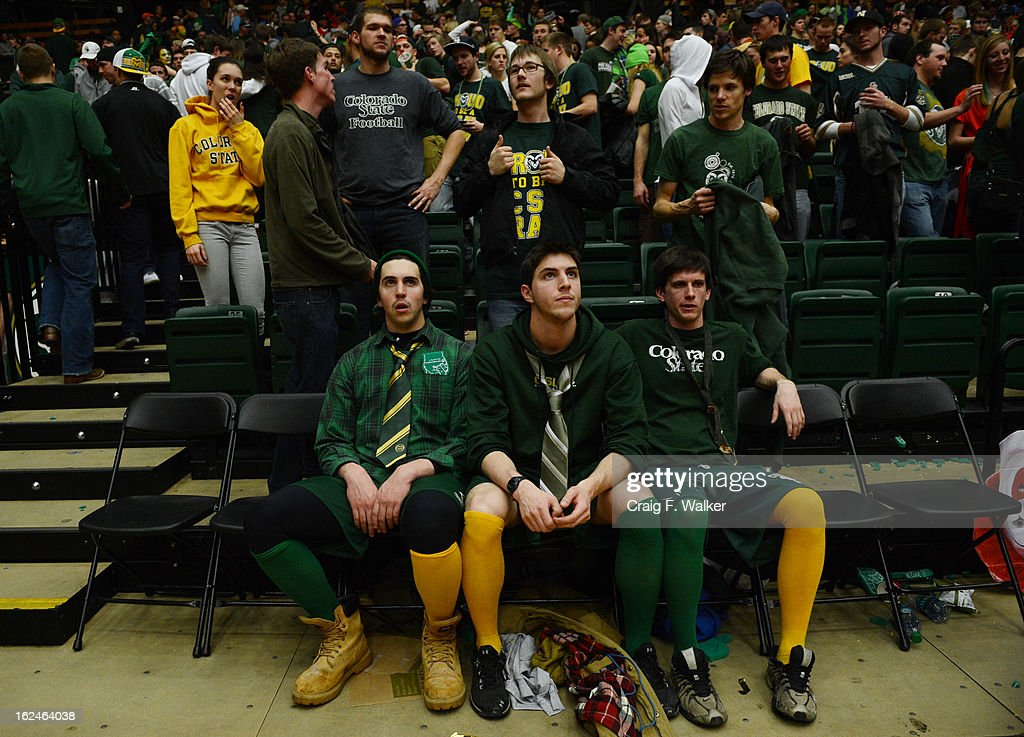 CSU students Ben Saccomano and his brother San and Chris Albright remain in their seats following the their teams loss to New Mexico at Moby Arena in Fort Collin, CO February 24, 2013. The Colorado State Rams mens basketball team lost to the New Mexico Lobos, 82-91.