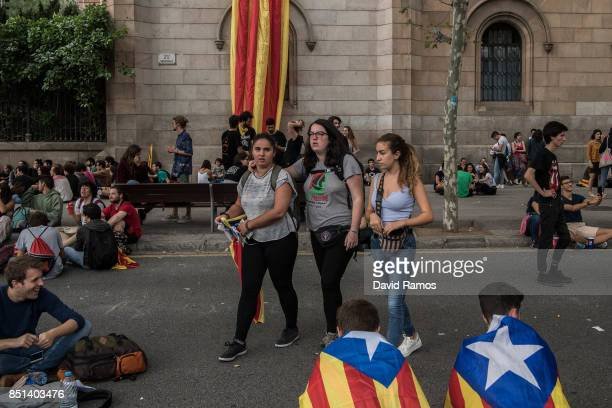 Students block the street in front of the rectory of the University of Barcelona during a protest on September 22 2017 in Barcelona Spain...