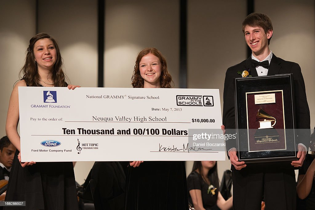 Students Caroline Brown, Mary Beth McMullan and Corey Worley attend the GRAMMY Signature School Presentation. Neuqua Valley High School was honored as a National GRAMMY Signature School and received an award of $10,000 at Neuqua Valley High School on May 7, 2013 in Naperville, Illinois.