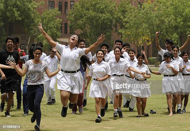 Students celebrate after the declaration of Central Board of Secondary Education Class 10 results on May 28 2015 in Noida India Over 13 lakh students...