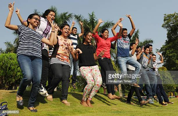 Students celebrate after the declaration of Central Board of Secondary Education Class 10 results on May 28 2015 in Ranchi India Over 13 lakh...