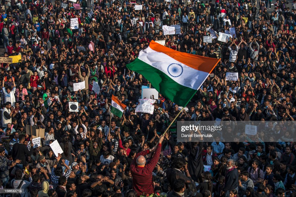 Students chant anti-police slogans during a protest against the Indian governments reaction to recent rape incidents in India in front of the Presidential Palace on December 22, 2012 in New Delhi, India. Thousands of students gathered in front of the Presidential Palace in New Delhi to protest against current rape laws and the governments dealings of recent rape cases all over India.