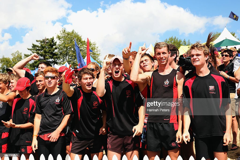 Students cheer on their teams during day six of the Maadi Cup at Lake Karapiro on March 23, 2013 in Cambridge, New Zealand.