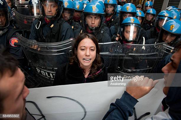 Students clash with Police in Venice during a day of protest against a money prize of â¬15000 given by Ca Foscari University to Italian Minister...
