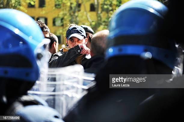 Students clash with the police during a demonstration at Scuola Superiore Sant'Anna on April 23 2013 in Pisa Italy Clashes between the police and up...