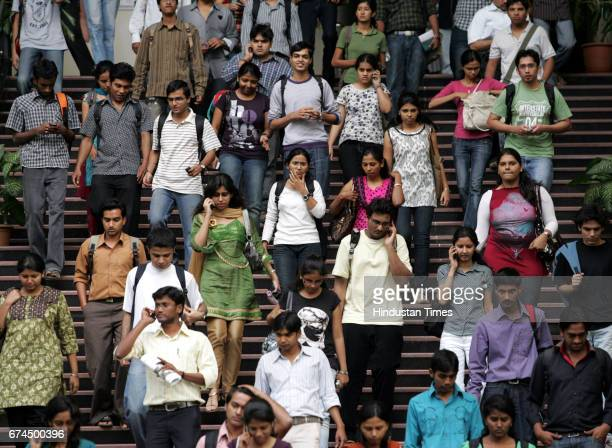 Students come out after giving MBA entrance at Welingkar Institute Of Management at matunga