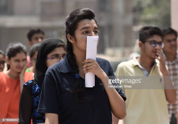 Students coming out after taking the CBSE National EligibilityCum Entrance Test medical entrance exam at Salwan Public School Sector15 on May 7 2017...