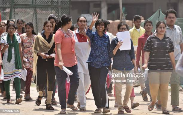 Students coming out after taking the CBSE National EligibilityCumEntrance Test medical entrance exam at Salwan Public School Sector15 on May 7 2017...