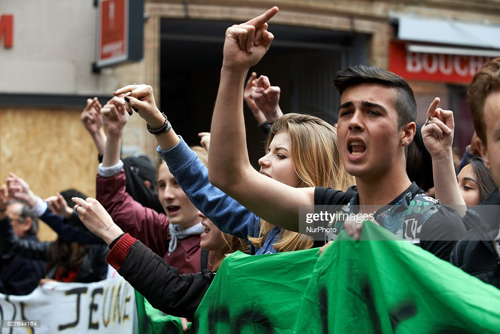 Students demonstrate during a day of action against the El-Khomri bill on labour reforms. Toulouse. France. May 3th 2016.